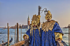 Venetian Disguised Couple Stock Photos