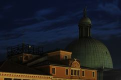 Venetian Dome. A softly lit night scene in Venice, Italy Stock Images