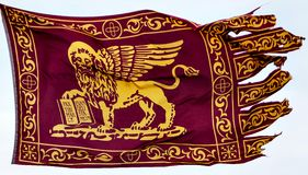The Venetian Flag flown in St Marks Square, Venice royalty free stock photography