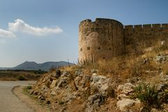 Venetian Fort at Aptera. Cretian fort at aptera historic and ancient construction and at vantage point over the bay of souda Stock Photos