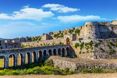 Venetian fort Methoni on the Greek Peloponnese. Venetian fort castle Methoni on the Greek Peninsula Peloponnese. The millennial protective walls and the royalty free stock photo