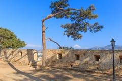 Venetian forteca Fortezza na wzgórzu przy starym miasteczkiem Rethimno, Crete, Grecja fotografia stock