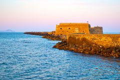 Venetian Fortress in Heraklion in the evening Stock Images