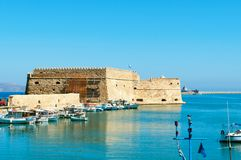 Venetian fortress. Koules in Heraklion, Crete Island, Greece Royalty Free Stock Images