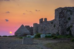 The Venetian Fortress of Methoni at sunset in Peloponnese, Messenia. stock photos