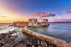 The Venetian Fortress of Methoni at sunset in Peloponnese, Messenia. The Venetian Fortress of Methoni at sunset in Peloponnese, Messenia, Greece stock image