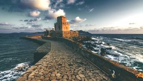 The Venetian Fortress of Methoni at sunset in Peloponnese, Messenia. The Venetian Fortress of Methoni at sunset in Peloponnese, Messenia, Greece royalty free stock image