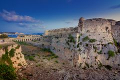 The Venetian Fortress of Methoni at sunset in Peloponnese, Messenia. The Venetian Fortress of Methoni at sunset in Peloponnese, Messenia, Greece royalty free stock photography