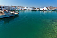 Venetian fortress and port in Naoussa town, Paros island, Greece Royalty Free Stock Images