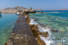 Venetian fortress and small port in Naoussa town, Paros island, Greece Stock Photography