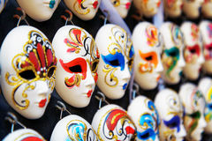 Venetian full-face masks for Carnival in shop of Venice, Italy. VENICE, ITALY - AUGUST 24, 2014: Authentic and original Venetian full-face masks for Carnival in Royalty Free Stock Image