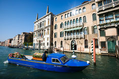 Venetian funeral boat Royalty Free Stock Photo