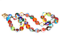 Venetian glass beads. Isolated on white background Stock Photo