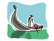 Venetian gondola. Illustration of a venetian gondola royalty free illustration