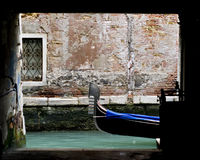 Venetian gondola. At the end of an alley Stock Photography