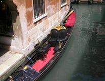 Venetian gondola. Moored to the building. Venetia. Italia Royalty Free Stock Photos