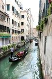 Venetian gondola rowing Royalty Free Stock Images