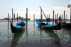 Venetian gondola's. The gondola is a traditional, flat-bottomed Venetian rowing boat, well suited to the conditions of the Venetian Lagoon. For centuries Royalty Free Stock Photography