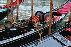 Venetian gondolas at the berth. Royalty Free Stock Photos