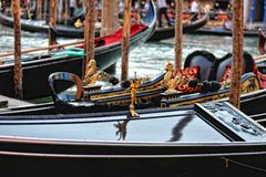 Venetian gondolas at the berth. Stock Photos