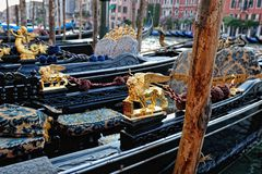Venetian gondolas at the berth. Stock Photo