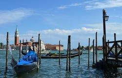 Venetian gondolas. The Cathedral of San Giorgio Maggiore Stock Image