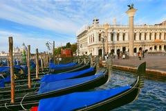 Venetian gondolas moored near San Marco Square in Venice Royalty Free Stock Photography