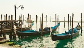 Venetian gondolas moored in San Marco. Italy Royalty Free Stock Photography