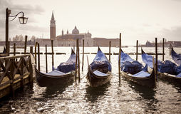 Venetian gondolas with the san giorgio maggiore Royalty Free Stock Image