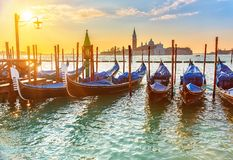 Venetian gondolas at sunrise Stock Photos