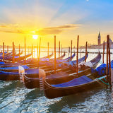 Venetian gondolas at sunrise Royalty Free Stock Images