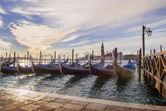 Venetian gondolas in Venice. Traditional venetian gondolas moored on the Grand Canal in Venice, Italy royalty free stock photos