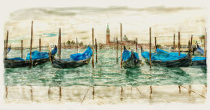 Venetian gondolas on the water watercolor. Venetian gondolas on water in cloudy weather watercolor Royalty Free Stock Images