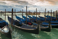 Venetian gondolas in winter Stock Images