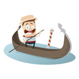 Venetian gondolier cartoon clipart. Funny illustration of a venetian gondolier royalty free illustration