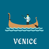 Venetian gondolier flat travel design. Venice travel concept with venetian gondolier in traditional costume, in a wooden gondola boat with paddle on a river vector illustration