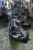Venetian Gondolier on Gondola Canal Venice Italy Royalty Free Stock Photography
