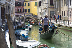 Venetian gondoliers. Venice,Italy-August 12,2014:Venetian gondoliers carry around some tourists  on a gondola in Venice During a sunny day inside her famous Royalty Free Stock Photography
