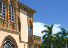 Venetian Gothic Balcony. Architecture, Gothic balcony outside stained glass windows, part of Ringling Home in Sarasota, Florida stock photo
