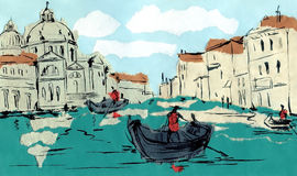 Venetian Grand Canal in Venice, Italy. Application. Application of a beautiful Venetian Grand Canal located in Venice, Italy/. Modified with ink vector illustration