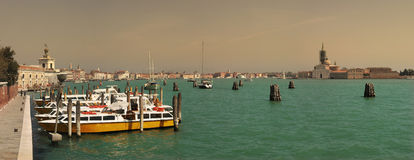 Venetian Grand Canal. Panoramic view on Grand Canal and San Giorgio Maggiore church in Venice, Italy Royalty Free Stock Photo