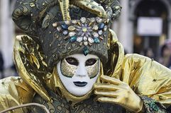 Venetian green and gold mask Stock Image