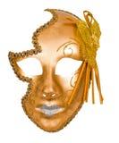 venetian guld- maskering för karneval Arkivfoto