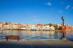 Venetian habour av Chania, Kreta, Grekland Royaltyfri Foto