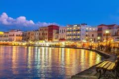 Venetian habour av Chania, Kreta, Grekland Arkivbilder