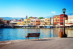 Venetian habour of Chania, Crete, Greece. View of venetian habour of Chania at sunny day, Crete, Greece, retro toned royalty free stock images