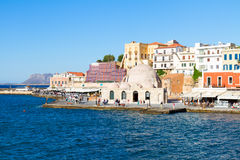 Venetian habour and Turkish Mosque Yiali Tzami of Chania Royalty Free Stock Image