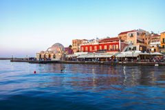 Venetian habour and Turkish Mosque Yiali Tzami of Stock Photo