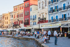 Venetian harbor of Chania with restaurants and cafes, Crete, Gre Stock Images
