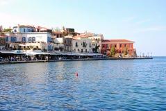 Venetian harbor of Greece. Houses at venetian harbor, Chania, Greece royalty free stock photos